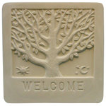 "Garden Molds - ""Welcome"" Plaque Mold - This welcome tree is a classic garden accent as a plaque on a stand, hanging on a fence or lying in a flower bed. Please note supplies to make pavers are NOT included and must be purchased separately."
