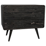 Noir Furniture - Noir Bart Chest, Cinder Black - Mid-century modern with a dash of whimsy tossed in, this three-drawer chest finishes its retro-futuristic deign with a surprisingly modern natural finish, allowing the grain of the mindi wood free reign.Specifications: