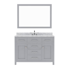 """Caroline 48"""" Vanity Cabinet Set, Gray, Round Sink, Without Faucet"""