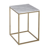 Kensal Marble Side Table, Brass Base
