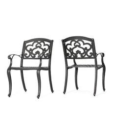 GDF Studio Augusta Outdoor Cast Aluminum Dining Chairs, Set of 2