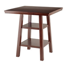 Winsome Orlando Counter Height Dining Table with 2 Shelf in Walnut