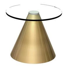Oscar Round Side Table, Clear Glass, Brass Base