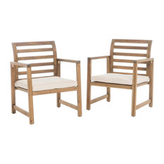 Eveleigh Coastal Outdoor Natural Stained Acacia Wood Club Chairs, Set of 2