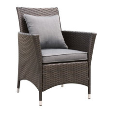 Furniture of America Merissa Rattan Patio Wicker Arm Chair in Gray (Set of 2)