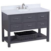 """New Hampshire 48"""" Bath Vanity, Charcoal Gray Base, Quartz Top"""