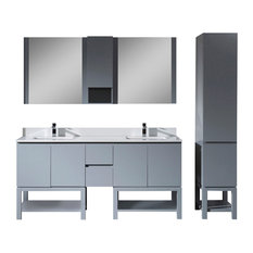 "Monaco 72"" Double Vanity Set With Linen Cabinet, Metal Gray"