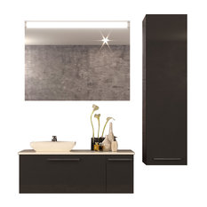 Bathroom Vanity Set With Mirror Single Sink Wall Mount, Helmos, Glossy Gray, 48""