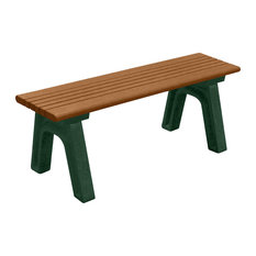 Bench, Hartford Backless, 4', with Green Legs, Cedar color