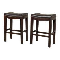 Gdfstudio Jaeden Backless Stools Set Of 2 Brown Leather Counter Height Bar