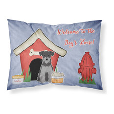 Dog House Collection Miniature Schanuzer Black Silver Fabric Standard Pillowcase
