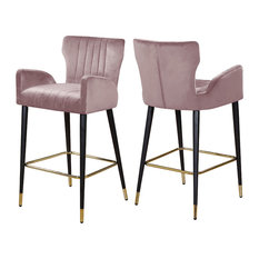Luxe Velvet Stool, Set of 2, Pink