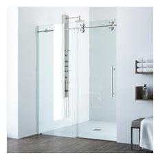 VIGO 72x74 Elan Frameless Sliding Shower Door, Stainless Steel