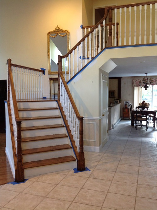 What Color White Bm Paint For Staircase Risers And Trim And Balusters