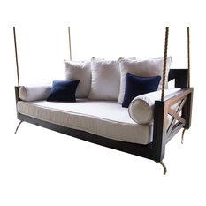 Finley Wood Porch Swing Bed, Charred Ember Finish, Crib Mattress Size