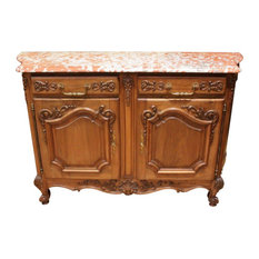 Consigned Server Sideboard Louis XV French Rococo 1920 Walnut Curved Pink
