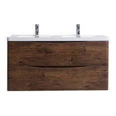 "48"" Rosewood Bath Vanity Set, Integrated White Acrylic Double Sink Wall Mount"