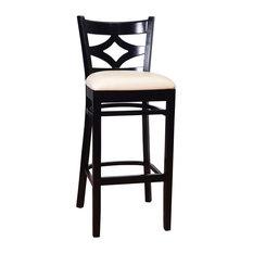 Curtain Back Bar Stool, Black Base, White Seat