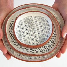 - Geometric Ceramic Plate Set by Susan Simonini Ceramics, Set of 3 - Dinner Plates