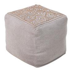 Surya Poufs Cube Pouf, Gray, Brown