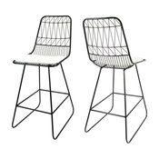 """GDF Studio Lilith 26"""" Seats Iron Counter Stools With Cushion, Black, Set of 2"""