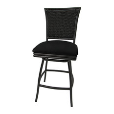 Outdoor Patio Swivel Armless Counter Stool, Erin Black Linen, Choc Brown, 26""