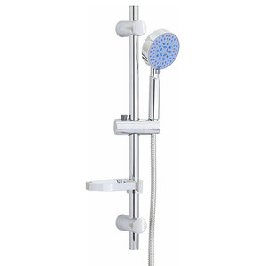 Shower Slider Riser Rail Kit with 3-Function Shower Head and Hose, Chrome Finish