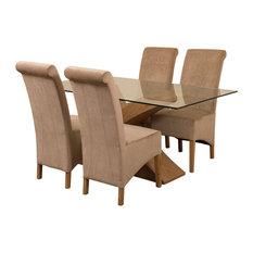 Valencia Glass, Oak Dining Table, 4 Montana Chairs, Beige Velvet Effect