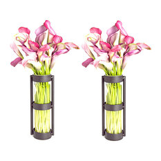 Cylinder Vases, Rings Metal Stand, Set of 2