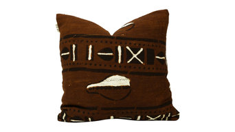 """Amba African Mud Cloth Pillow, 20""""x20"""", Envelope Back, Cover Only"""