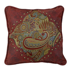 """Paisley Print Pillow With Red Faux Leather, 18""""x18"""""""