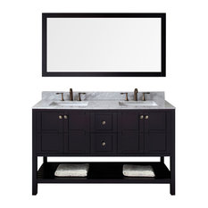"Virtu Usa Inc. - Virtu Winterfell 60"" Double Bathroom Vanity, Espresso With Marble Top, Mirror - Bathroom Vanities and Sink Consoles"