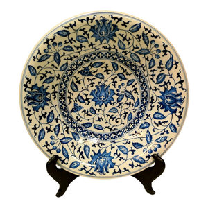Large Flower Blue And White Porcelain Plate 12 Asian Decorative