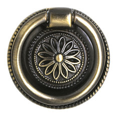 "Utopia Alley Medici Ring Pull, Antique Brass, 1 5/8"" Diameter"