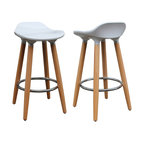 White ABS Plastic Counter Stool, Set of 2