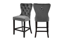 Nikki Velvet Stools, Set of 2, Gray