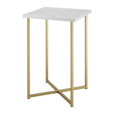 16-inch Square End Table White Faux Marble/Gold by Walker Edison