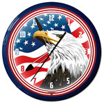 "Image Time - USA Flag Eagle Head Neon Aluminum, 20"", Wall Clock Made in USA - USA Flag Eagle Head Neon Aluminum 20"" Wall Clock, Made in USA - 1 Year Warranty New. Dimensions: 20"" diameter."
