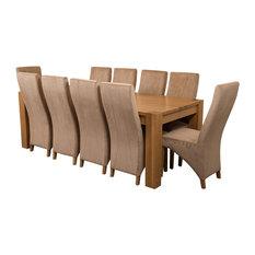 Kuba Chunky Oak Dining Table With 10 Lola Chairs, 220 cm, Beige Velvet Effect