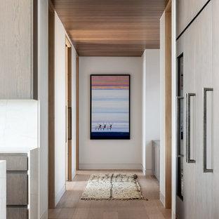 Пример оригинального дизайна: коридор в стиле модернизм с белыми стенами, светлым паркетным полом и деревянным потолком