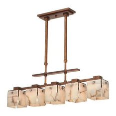 Bedford 5-Light Island-Light With Copper Accents, Antique Copper, Iridescent