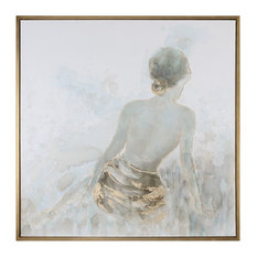 Gold Nude Female Wall Art Painting, Spa Lady Relaxation Square