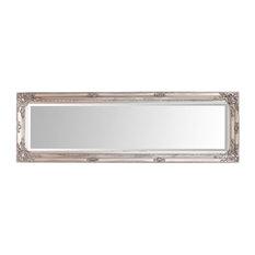 Modern Wall Mounted Mirror, Antique Baroque Design, Antique Silver
