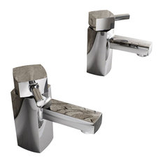 Enki Desire Hot Cold Twin Basin Taps Square, Brass Chrome, Set of 2