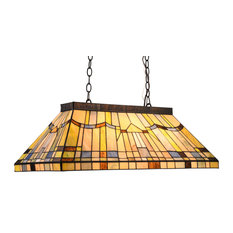 CHLOE Lighting Kinsey Tiffany Blackish Bronze 3-Light Mission Island Fixture
