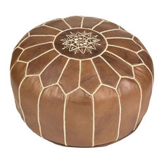 Natural Brown Stuffed Moroccan Leather Pouf