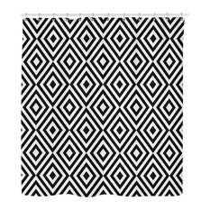 Black and White Geometric Shower Curtain