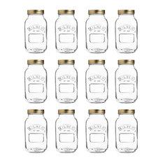 Kilner Preserve Jars, Transparent, 1 L, Set of 14