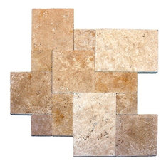 5 Kits of 16 Sqft Tuscany Beige French Pattern Honed Unfilled Chipped Brushed