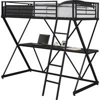 Twin Size Loft Bunk Bed Frame, Metal Desk, Black
